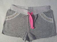 Шорты трикотажные двухнитка для девочки р.140-164 Grace 140, серый