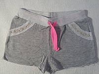 Шорты трикотажные двухнитка для девочки р.140-164 Grace 158, серый