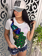 Женская модная футболка с жар-птицей из паеток белая, фото 1