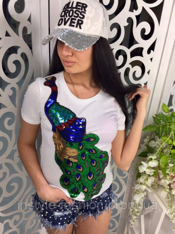 Женская модная футболка с жар-птицей из паеток белая
