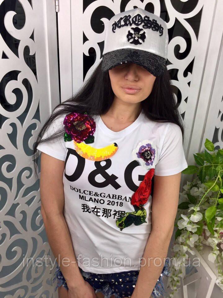 Модная и стильная футболка Dolce&Gabanna ткань хлопок цвет белый