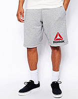 Мужские шорты Reebok, мужские шорты Рибок, спортивные шорты, брендовые шорты мужские, серые