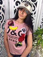 Модная и стильная футболка Dolce&Gabanna ткань хлопок цвет розовый, фото 1