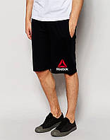 Мужские шорты Reebok, мужские шорты Рибок, спортивные шорты, брендовые шорты мужские, черные