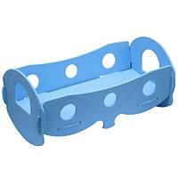 Кровать деревянная для кукол голубая, К055