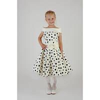 Платье Выпускное Ретро Горошек HarMedp-003bej ( 7-10 лет)