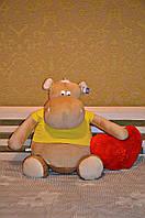 Мягкая игрушка большой Бегемотик 100 см.Игрушка бегемот синтапон,холлофайбер, ручная, Карамельный