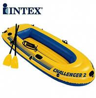 Лодка надувная двухместная +насос+весла 236*114*41 см, 68367