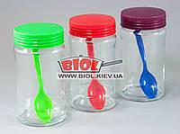 """Набор банок (3 шт.) стеклянных 320мл с пластиковыми крышками твист и ложками """"Bianca"""""""