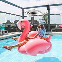 Надувной матрас фламинго. Для пляжа, бассейна и вечеринок. Размер 150 см