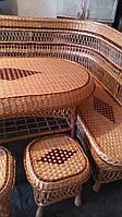 Табурет плетеный кофейный с узором