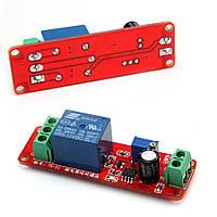 Модуль таймера на NE555, питание 12В, с реле, 250В,10А. Таймер задержки переключения модуля регулируем