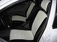 Авточехлы из экокожи черные с белым на  Ford Fiesta MK 6 с 2008-н.в. хэтчбек 5 дверей