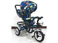 Велосипед колясочный, трехколесный, надувные колеса (12/10), синий с кружками, M3200-5A-D