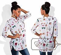 Шифоновая рубашка с принтом