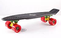 Пенни борд черный 57см. красные колеса (ультрамодный пластиковый скейтборд)