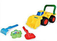 Бульдозер с игрушками для песка (пасочка, лопатка, грабельки), в сетке 40*17см TM Wader(70410)