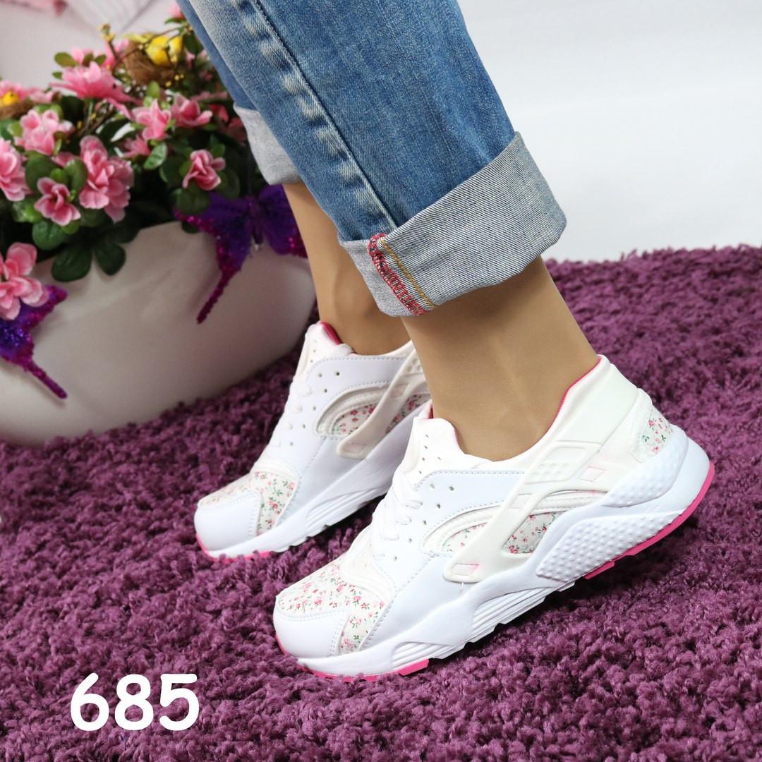 Женские кроссовки реплика Nike Huarache белые цветочный принт