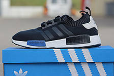 Кроссовки Мужские Adidas NMD темно синие с белым,летние,сетка, фото 3