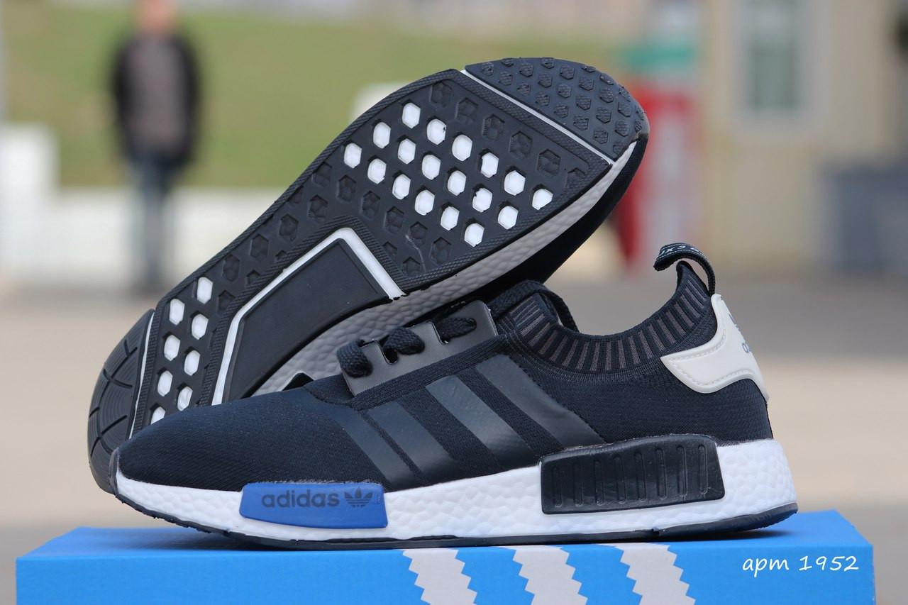 Кроссовки Мужские Adidas NMD темно синие с белым,летние,сетка