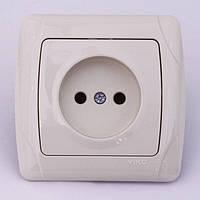 Розетка электрическая VIKO Carmen скрытой установки одинарная без заземления (кремовая), фото 1