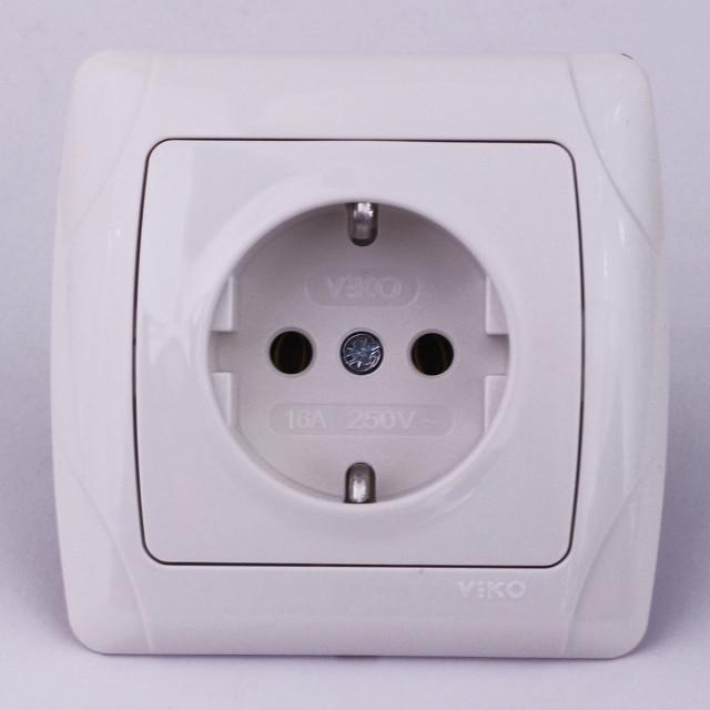 4e71afd1b0dd Розетка электрическая VIKO Carmen скрытой установки одинарная с заземлением  (белая)