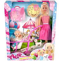 """Кукла Ася шарнирная """"Семейный досуг""""; 28см; блондинка; и мал. куклой 11см, коляскак, в кор.33*19*6см(35087)"""