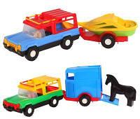 "Машина ""Авто-сафари с прицепом"", 2 вида (конярка, корабоик), под слюд. 38*14см (30 шт.), ТМ Wader(39006)"