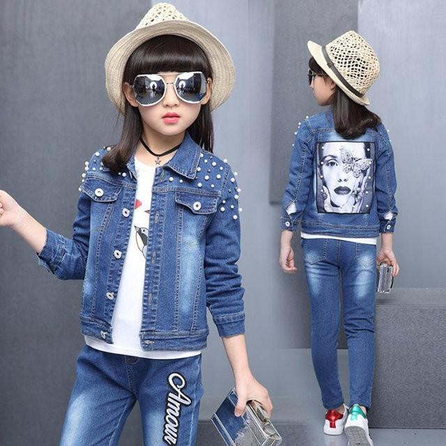 Супер модный джинсовый костюм на девочку