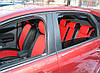 Авточехлы из экокожи черные с красным на  Chevrolet Spark 1 с 2005-2011г. Хэтчбек, фото 4