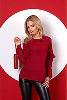 Красивая шифоновая блуза с длинным рукавом и рюшами 42-50 размера
