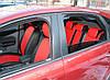 Авточехлы из экокожи черные с красным на  Daewoo Matiz 1-2 с 2000-2009-н.в. хэтчбек., фото 4