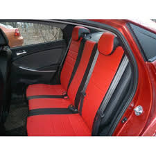 Авточехлы из экокожи черные с красным на  Datsun Mido
