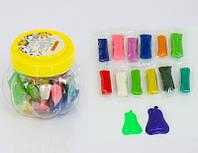 Пластилин + 2 формочки, 12 цветов, в колбе (300шт)(0271)