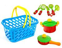 Посуда в корзинке, кастрюля, сковорода, в сетке 28*15*15см, Украина (6шт)(04-435)