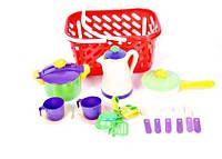Посуда в корзине (кастрюля, сковорода, кофейник,..), в сет. 29*15*15см, Украина (6 шт)(04-436)