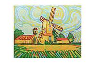 """Холст-расскраска под номерами """"Мельница"""", (30*40см), с набором красок и кисточкой(E076)"""