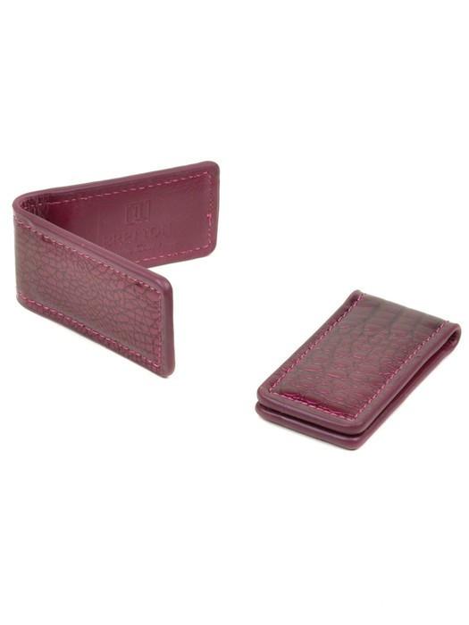 Кошелек Зажим для денег кожа Bretton Clip-Croc rose-red