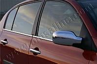 Нижние молдинги стекол Renault Megane 5D (2004-2010) (нерж.) 4 шт