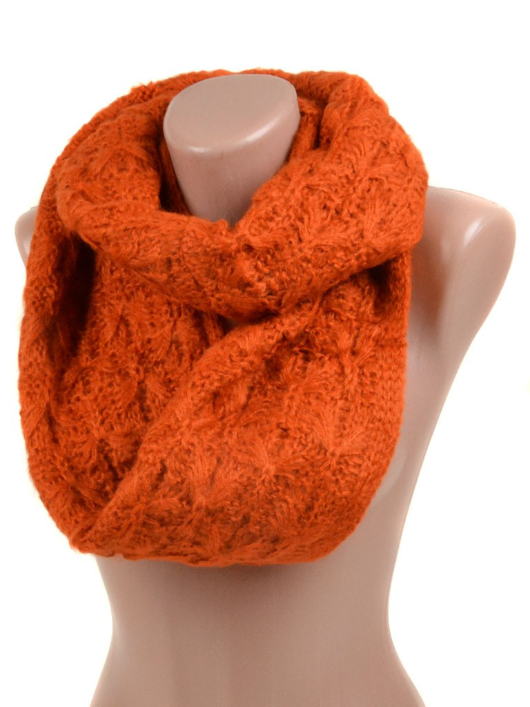 Шарф Женский Осень-Зима шерсть M0429 orange Хомут