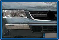 Накладки на передний бампер Volkswagen T5 Transporter (2003-) нерж.2 шт.(Брови) Omsa