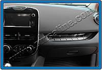 Накладка на переднюю консоль Renault Clio IV HB 5D (2012-) (нерж.) - над бардачком