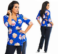 Женский костюм батал яркая блуза + брюки (4 расцветки)