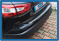 Накладки на задний бампер Nissan Qashqai (2014-) (нерж.) Матированный Omsa