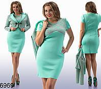 Костюм платье + жакет из неопрена, большие размеры (3 расцветки)