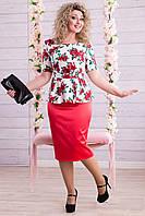 Костюм двойка юбка(атлас)+пиджак(лен) цветочный принт. В разных цветах