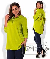 Красивая блуза из штапеля со стразами на спинке, батал (разные цвета)