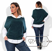 Блуза-рубашка + безрукавка батал вязка рубчик (5 цветов)