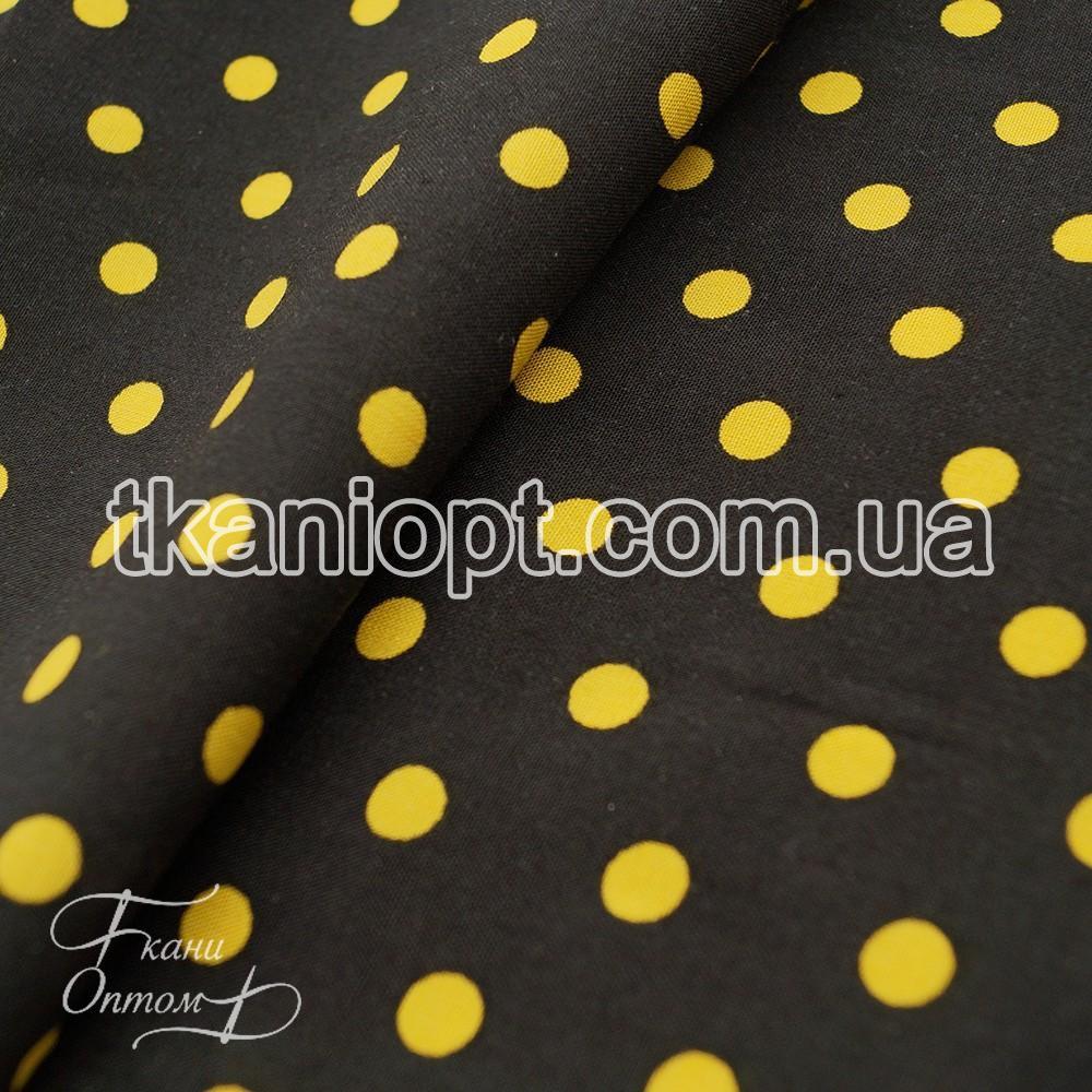 Ткань Штапель горох черно-желтый (5-6мм)