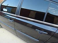 Нижние молдинги стекол Renault Megane SD,SW (2004-2010) (нерж.) 4 шт
